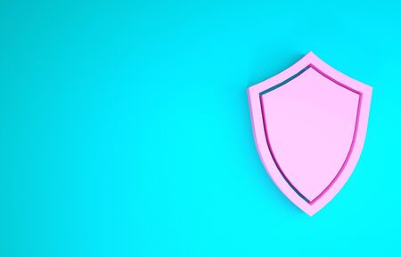 Pink Shield icon isolated on blue background. Guard sign. Minimalism concept. 3d illustration 3D render Stockfoto