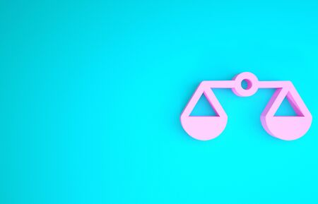 Pink Scales of justice icon isolated on blue background. Court of law symbol. Balance scale sign. Minimalism concept. 3d illustration 3D render
