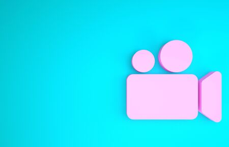 Pink Movie or Video camera icon isolated on blue background. Cinema camera icon. Minimalism concept. 3d illustration 3D render