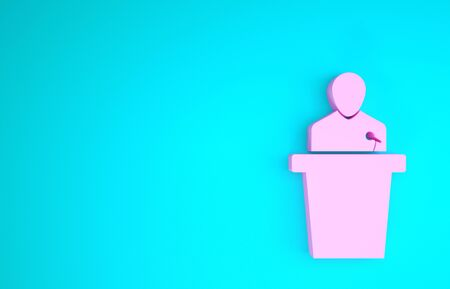Pink Speaker icon isolated on blue background. Orator speaking from tribune. Public speech. Person on podium. Minimalism concept. 3d illustration 3D render