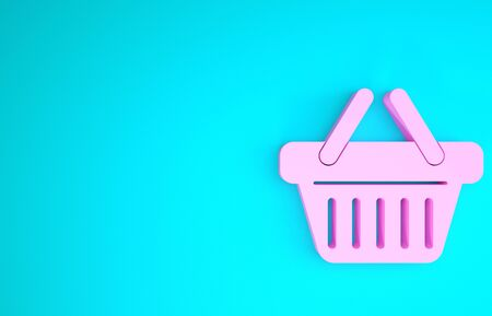 Pink Shopping basket icon isolated on blue background. Minimalism concept. 3d illustration 3D render 스톡 콘텐츠