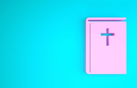 Pink Holy bible book icon isolated on blue background. Minimalism concept. 3d illustration 3D render Stock Photo
