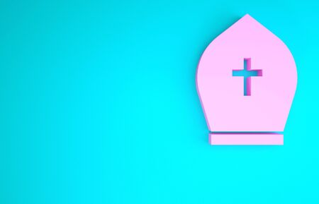 Pink Pope hat icon isolated on blue background. Christian hat sign. Minimalism concept. 3d illustration 3D render