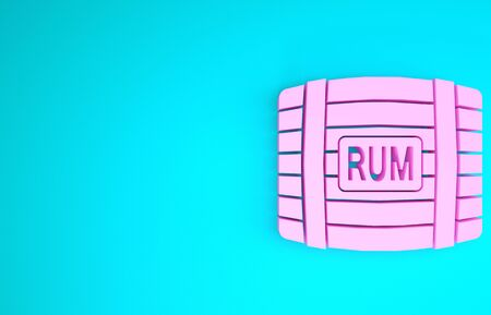 Pink Wooden barrel with rum icon isolated on blue background. Minimalism concept. 3d illustration 3D render Imagens