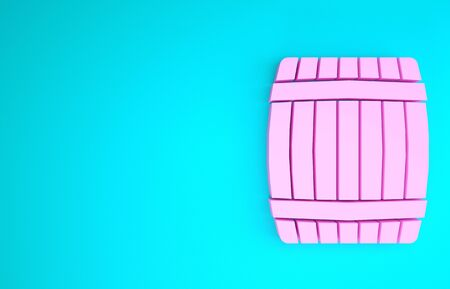 Pink Wooden barrel icon isolated on blue background. Minimalism concept. 3d illustration 3D render