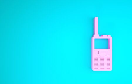 Pink Walkie talkie icon isolated on blue background. Portable radio transmitter icon. Radio transceiver sign. Minimalism concept. 3d illustration 3D render