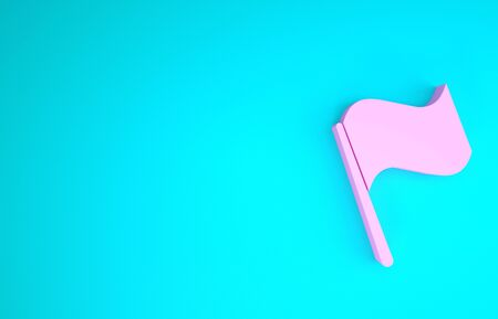 Pink Flag icon isolated on blue background. Minimalism concept. 3d illustration 3D render Фото со стока