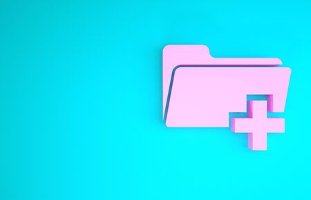 Pink Add new folder icon isolated on blue background. New folder file sign. Copy document icon. Add attach create folder make new plus icon. Minimalism concept. 3d illustration 3D render