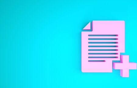 Pink Add new file icon isolated on blue background. Copy document icon. Minimalism concept. 3d illustration 3D render Reklamní fotografie