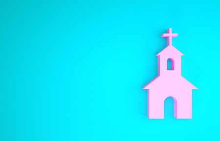 Pink Church building icon isolated on blue background. Christian Church. Religion of church. Minimalism concept. 3d illustration 3D render