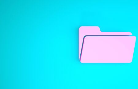 Pink Folder icon isolated on blue background. Minimalism concept. 3d illustration 3D render