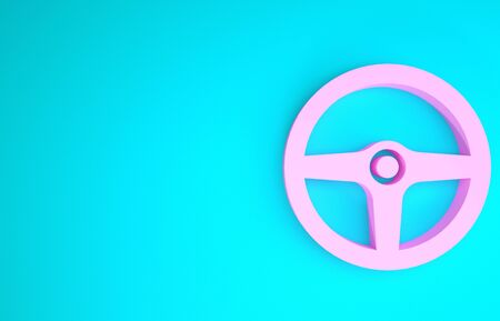 Pink Steering wheel icon isolated on blue background. Car wheel icon. Minimalism concept. 3d illustration 3D render