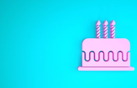 Pink Cake with burning candles icon isolated on blue background. Happy Birthday. Minimalism concept. 3d illustration 3D render Stok Fotoğraf