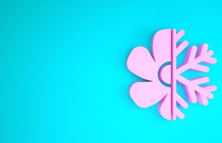 Pink Air conditioner icon isolated on blue background. Minimalism concept. 3d illustration 3D render