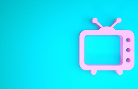 Pink Tv icon isolated on blue background. Television sign. Minimalism concept. 3d illustration 3D render