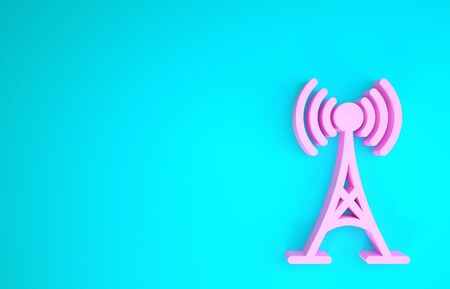 Pink Antenna icon isolated on blue background. Radio antenna wireless. Technology and network signal radio antenna. Minimalism concept. 3d illustration 3D render Stock fotó