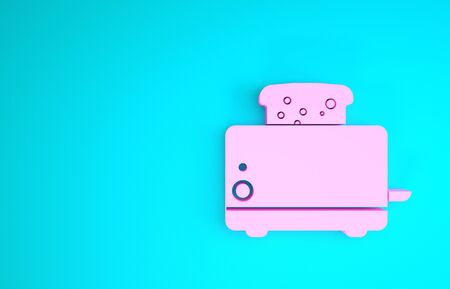 Pink Toaster with toasts icon isolated on blue background. Minimalism concept. 3d illustration 3D render Stock Photo