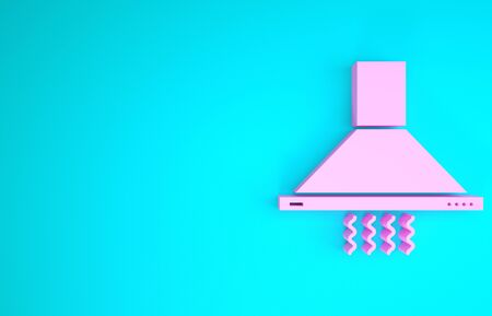 Pink Kitchen extractor fan icon isolated on blue background. Cooker hood. Kitchen exhaust. Household appliance. Minimalism concept. 3d illustration 3D render