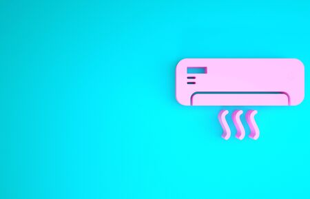 Pink Air conditioner with fresh air icon isolated on blue background. Split system air conditioning. Cool and cold climate control system. Minimalism concept. 3d illustration 3D render
