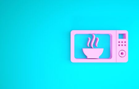 Pink Microwave oven icon isolated on blue background. Home appliances icon. Minimalism concept. 3d illustration 3D render Stock Photo