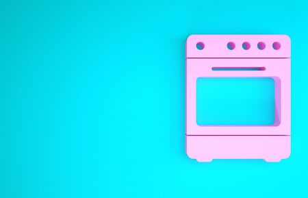 Pink Oven icon isolated on blue background. Stove gas oven sign. Minimalism concept. 3d illustration 3D render