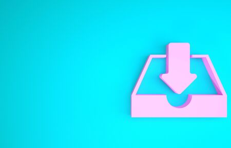 Pink Download inbox icon isolated on blue background. Minimalism concept. 3d illustration 3D render