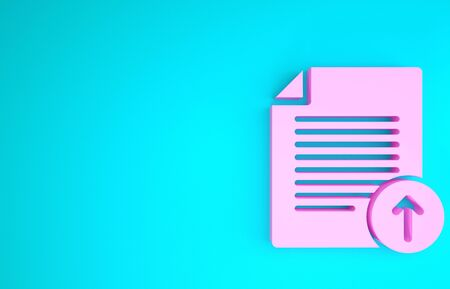 Pink Upload file icon isolated on blue background. File document symbol. Document arrow. Minimalism concept. 3d illustration 3D render Stok Fotoğraf