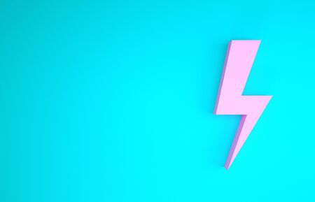 Pink Lightning bolt icon isolated on blue background. Flash icon. Charge flash icon. Thunder bolt. Lighting strike. Minimalism concept. 3d illustration 3D render