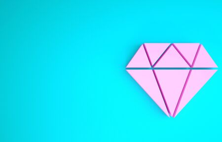 Pink Diamond icon isolated on blue background. Jewelry symbol. Gem stone. Minimalism concept. 3d illustration 3D render