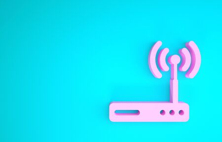 Pink Router and wireless modem router. Computer technology internet. Minimalism concept. 3d illustration 3D render