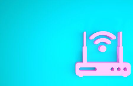Pink Router and wireless signal symbol icon isolated on blue background Stock fotó