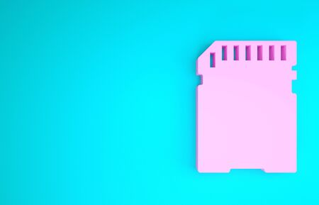 Pink SD card icon isolated on blue background. Memory card. Adapter icon. Minimalism concept. 3d illustration 3D render