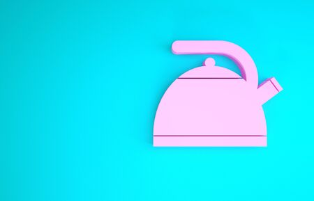 Pink Kettle with handle icon isolated on blue background. Teapot icon. Minimalism concept. 3d illustration 3D render Stock Photo