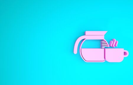 Pink Coffee pot with cup icon isolated on blue background. Minimalism concept. 3d illustration 3D render Reklamní fotografie