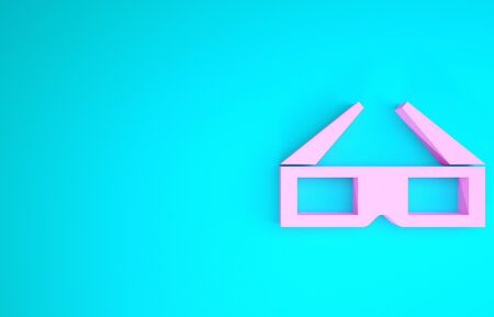 Pink 3D cinema glasses icon isolated on blue background. Minimalism concept. 3d illustration 3D render 스톡 콘텐츠 - 133746309