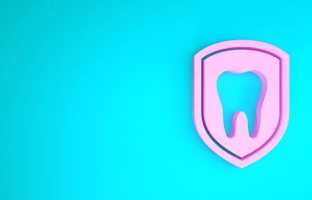 Pink Dental protection icon isolated on blue background. Tooth on shield icon. Minimalism concept. 3d illustration 3D render Stock fotó