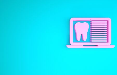 Pink Laptop with dental card or patient medical records icon isolated on blue background. Dental insurance. Dental clinic report. Minimalism concept. 3d illustration 3D render