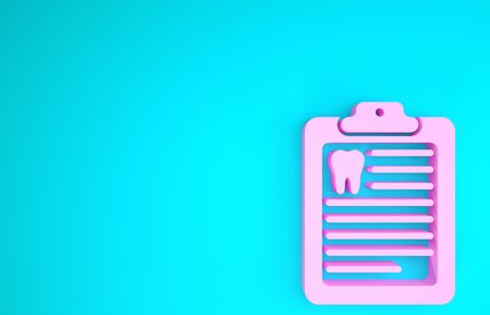 Pink Clipboard with dental card or patient medical records icon isolated on blue background. Dental insurance. Dental clinic report. Minimalism concept. 3d illustration 3D render