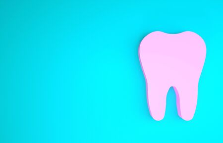 Pink Tooth icon isolated on blue background. Tooth symbol for dentistry clinic or dentist medical center and toothpaste package. Minimalism concept. 3d illustration 3D render