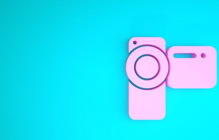 Pink Cinema camera icon isolated on blue background. Video camera. Movie sign. Film projector. Minimalism concept. 3d illustration 3D render Stok Fotoğraf