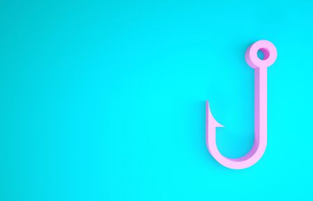 Pink Fishing hook icon isolated on blue background. Minimalism concept. 3d illustration 3D render