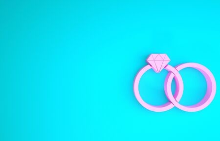 Pink Wedding rings icon isolated on blue background. Bride and groom jewelery sign. Marriage icon. Diamond ring. Minimalism concept. 3d illustration 3D render 스톡 콘텐츠