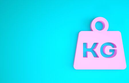 Pink Weight icon isolated on blue background. Kilogram weight block for weight lifting and scale. Mass symbol. Minimalism concept. 3d illustration 3D render