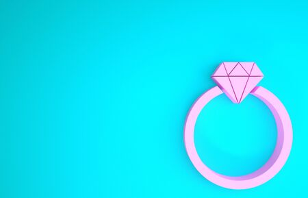Pink Diamond engagement ring icon isolated on blue background. Minimalism concept. 3d illustration 3D render