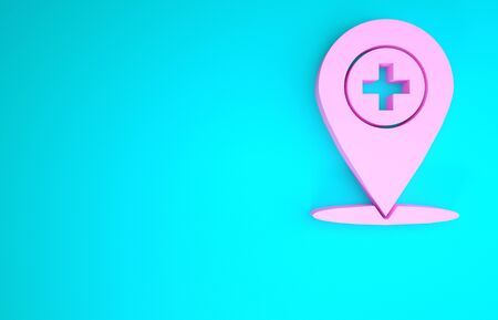 Pink Medical map pointer with cross hospital icon isolated on blue background. Minimalism concept. 3d illustration 3D render