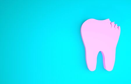 Pink Broken tooth icon isolated on blue background. Dental problem icon. Dental care symbol. Minimalism concept. 3d illustration 3D render