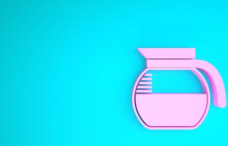 Pink Coffee pot icon isolated on blue background. Minimalism concept. 3d illustration 3D render Reklamní fotografie
