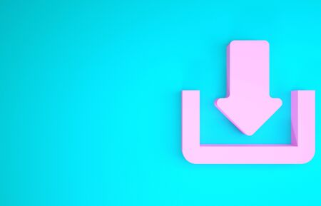 Pink Download icon isolated on blue background. Upload button. Load symbol. Arrow point to down. Minimalism concept. 3d illustration 3D render Stock fotó