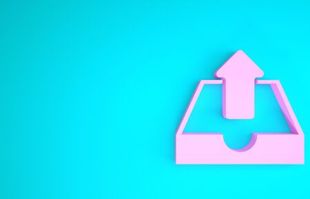 Pink Upload inbox icon isolated on blue background. Minimalism concept. 3d illustration 3D render