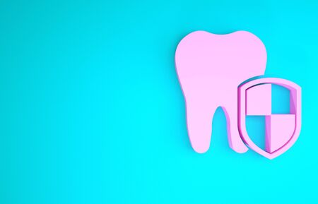 Pink Dental protection icon isolated on blue background. Tooth on shield logo. Minimalism concept. 3d illustration 3D render